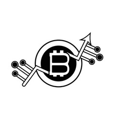 contour bitcoin currency sign with circuits vector image