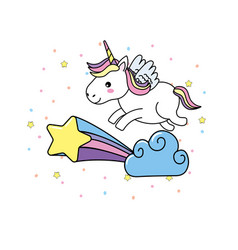 cute unicorn with wings and cloud with star vector image vector image