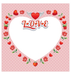 Heart Shape Frame and Border with Icons vector image