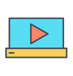 laptop with play button thin line icon pictogram vector image