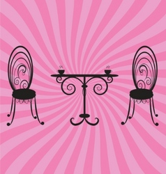 old retro chairs and table vector image vector image