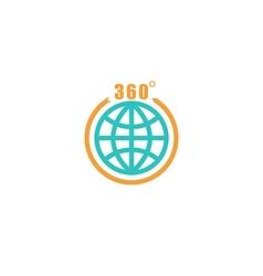 Travel circle mockup logo globe arrow with 360 vector image vector image