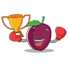 boxing winner plum mascot cartoon style vector image
