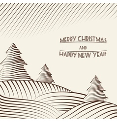 Engraving of Christmas trees on the hills vector image vector image