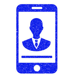 Mobile manager contact grunge icon vector