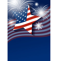 star and usa flag with fireworks design vector image vector image