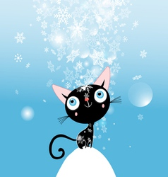 Christmas card with kitten vector image vector image