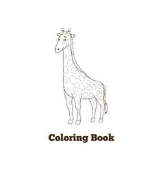 Coloring book giraffe african savannah animal vector image