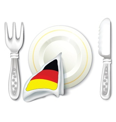 Plate Fork Knife with Germany Flag vector image vector image