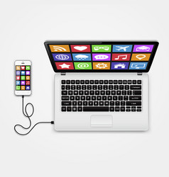 smart phone with app icons connected to laptop vector image