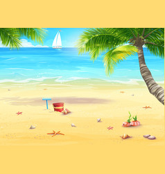 the sea shore with palm trees shells bucket and vector image