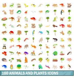 100 animals and plants icons set cartoon style vector