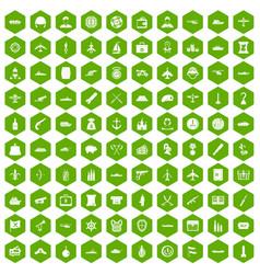 100 combat vehicles icons hexagon green vector
