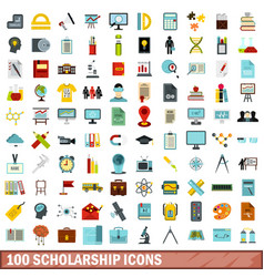 100 scholarship icons set flat style vector