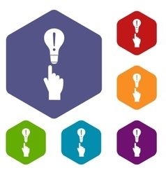 A finger pointer and light bulb icons set vector
