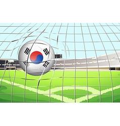 A soccer ball with the South Korean flag vector