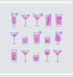 Alcohol drinks and cocktails icon flat set grey vector