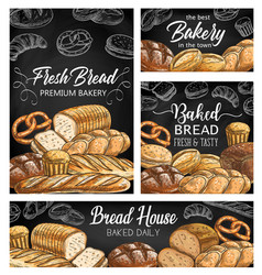 bakery fresh bread sketch banners vector image