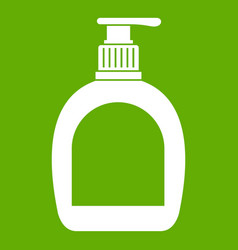 Bottle with liquid soap icon green vector
