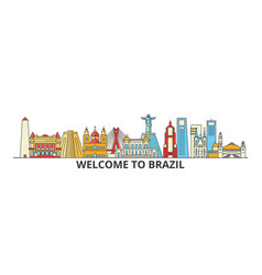 brazil outline skyline brazilian flat thin line vector image