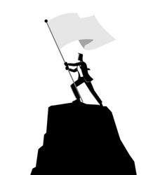 businessman holding a flag on top of rock vector image