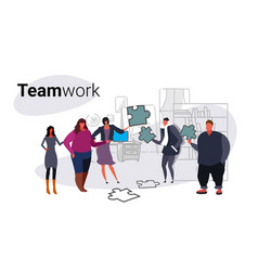 Businesspeople holding puzzle parts problem vector