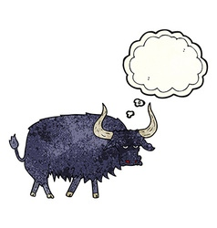 Cartoon annoyed hairy ox with thought bubble vector