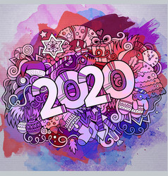 cartoon cute doodles hand drawn 2020 year vector image