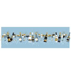 Champagne bottles and glasses color vector