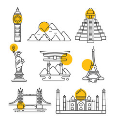 city travel linear landmarks vector image
