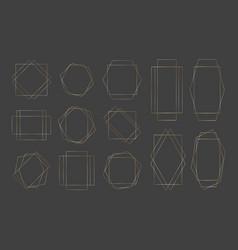 collection golden polygonal luxury frames set vector image