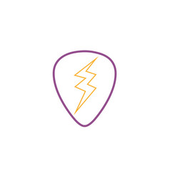 color line rock emblem with thunder symbol design vector image