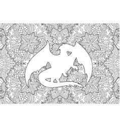 coloring book art with dragon on detailed pattern vector image