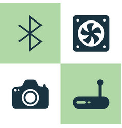 Computer hardware icons set collection of vector