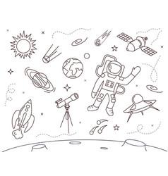 Cosmonaut in spacesuit concept contour linear vector