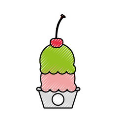 Cup cake sweet icon vector