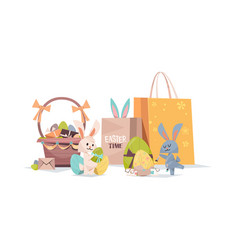 cute rabbits with decorated eggs basket vector image
