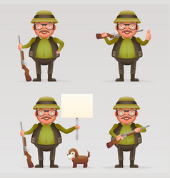 cute successful hunter dog cheerful weapon gun in vector image