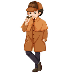 Detective wearing brown overcoat vector