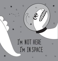Dinosaur astronaut in space vector