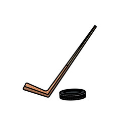 Drawing hockey stick and puck sport image vector