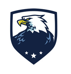 eagle head mascot with shield emblem vector image