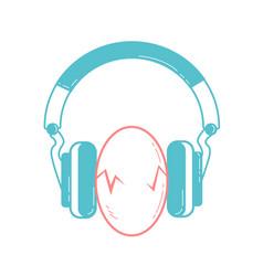 Eggs between headphones vector