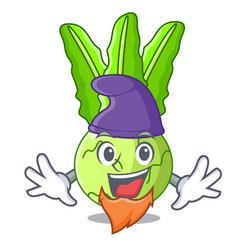 Elf cartoon green kohlrabi in the market vector