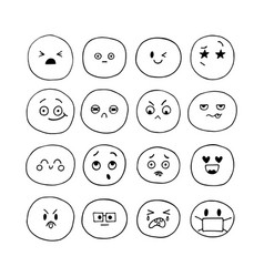 emoji icons happy hand drawn funny smiley faces vector image