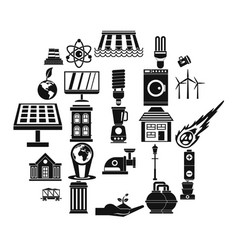 energy transfer icons set simple style vector image