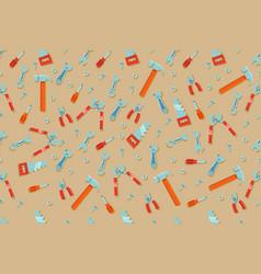 engineering workshop tool cartoon seamless pattern vector image