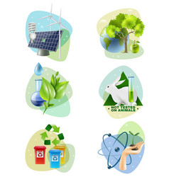 environment protection 6 ecological icons set vector image