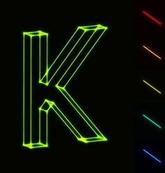 EPS10 glowing wireframe letter K - easy to change vector image