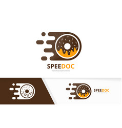 Fast donut logo combination speed doughnut vector